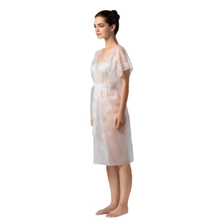 Халат-кимоно без рукавов одноразовый 10 шт - Белый, 10 шт