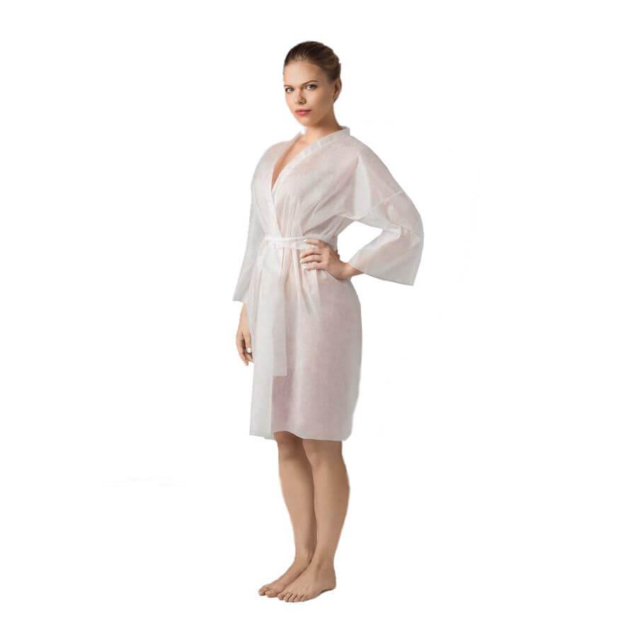 Халат-кимоно с рукавами одноразовый 5 шт - Белый, 5 шт