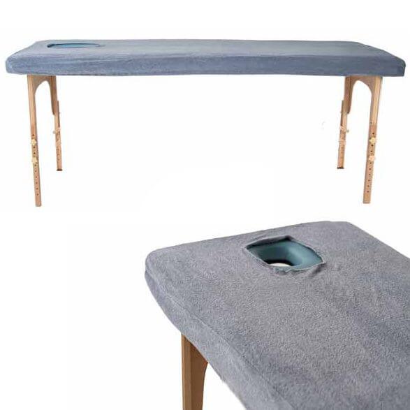 Махровая накидка на массажный стол - 190 серый