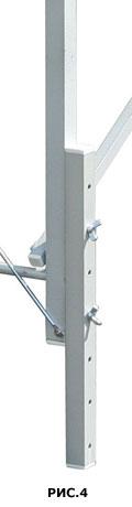 Пример конструкции изменения высоты массажного стола прикручиванием двух совмещенных частей ножки